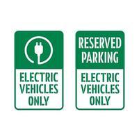 reservierter Parkplatz, nur für Elektrofahrzeuge. vektor