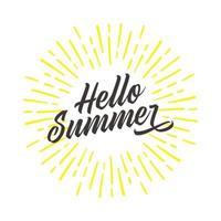 Hallo Sommer Spaß Zitat Hipster Design Logo oder Label. Handbeschriftung inspirierende Typografie Vektor-Illustration. vektor