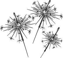 Strichzeichnungen der Wunderkerzen auf einem weißen Hintergrund vektor