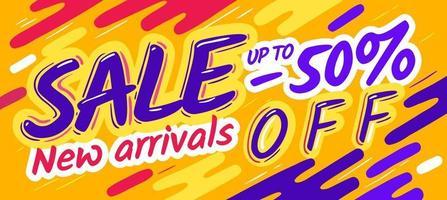 Cartoon-Verkaufsfahnenplakat. Vektor gelbe Vorlage Flyer, Rabatt Verkauf Coupon Konzept