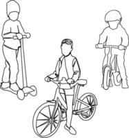 uppsättning av tre barn på olika typer av transporter vektor