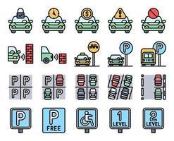 Parkplatz verwandter gefüllter Symbolsatz, Vektorillustration vektor