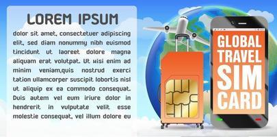 Smartphone und Global Travel Sim Card Gepäcktasche vektor