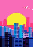 Stadtansicht Sonnenuntergang Hintergrund vektor