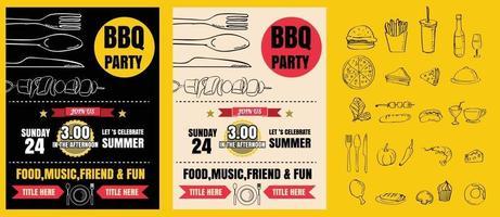 grillfest inbjudan. bbq mall meny design. mat flygblad. vektorformat eps10 vektor