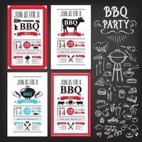 grillfest inbjudan. bbq mall meny design. mat reklamblad. vektor