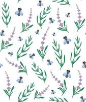 nahtloses Muster aus Lavendel und Fliege. Blumen- und Insektenhintergrund. Perfekt für Tapeten, Hintergrund, Textilien, Stoffe, Geschenkpapier. vektor