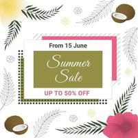 Sommerverkaufsbanner mit Kokosnuss, tropischen Blumen und Palmblättern. exotisches Blumenmuster. Perfekt für Banner, Flyer, Einladungen, Poster, Websites oder Grußkarten. vektor