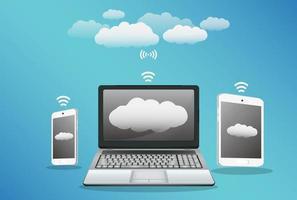 smartphone bärbar dator surfplatta med moln dataöverföring vektor