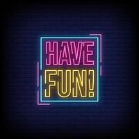 Viel Spaß Neonzeichen Stil Text Vektor