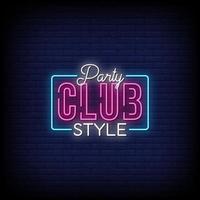 party club stil neonskyltar stil text vektor