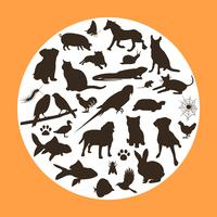 16 Haustier-Vektor-Schattenbilder vektor