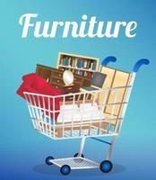 Möbel Sofa Bücherregal Schreibtisch Stuhl Kleiderschrank und Bett auf einem Einkaufswagen vektor