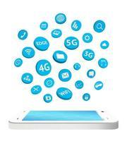 smartphone med ikonen för anslutningsappar flytande vektor