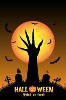 halloween bakgrund med demon hand i kyrkogård vektor