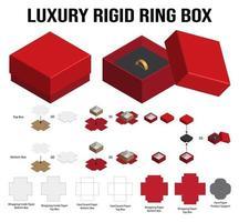 starre Box für Ringproduktmodell mit Dieline vektor