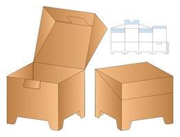 gestanzte Schablonendesign der Webboxverpackung. 3D-Modell vektor