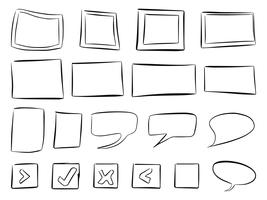 Hand gezeichnete Rahmen-Vektoren und Sprechblasen-Vektoren vektor