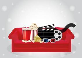 Popcorn, Getränk, Film, 3D-Brille und Kinokarte auf einem roten Sofa vektor