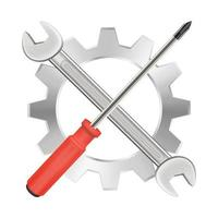 Schraubenzieherschlüssel und Zahnradreparaturlogo vektor