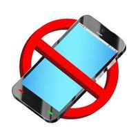 Verwenden Sie keinen Smartphone-Verbotszeichenvektor vektor