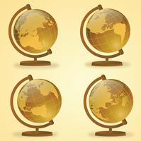 guld globe vektor pack
