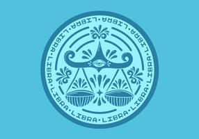 libra zodiac badge vektor