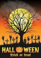 halloween zombiehand på grav med dött träd vektor