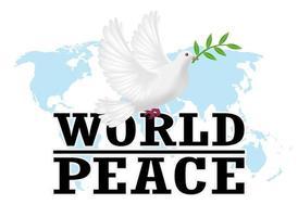 Weltfrieden mit weißer Taube auf einer Weltkarte vektor