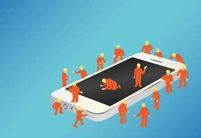 Gruppe von Arbeitern, die an einem Smartphone arbeiten vektor