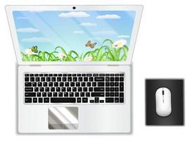 Draufsicht realer weißer Laptop mit Maus vektor