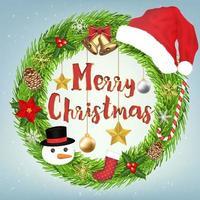 Dekoration Frohe Weihnachten Kranz Kreis mit Weihnachtsobjekt herum vektor