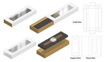 Luxus Uhrenhülle Box Modell Dieline Vorlage vektor