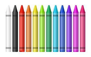 Satz eines Farbstifts auf weißem Hintergrund vektor
