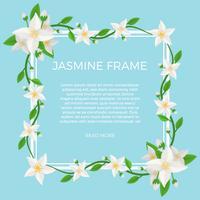 Flat Jasmine Flower Bakgrund Mall Vector