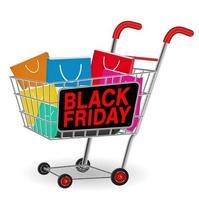 schwarze Freitag Einkaufspapiertüte auf Wagen vektor