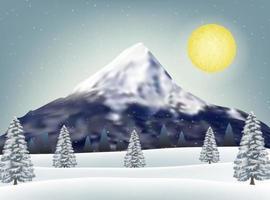 Winterschneehügel mit großem Gebirgshintergrund vektor