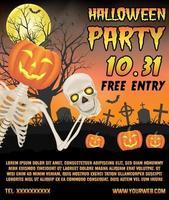 halloween reklam banner med skelett på kyrkogård affisch vektor