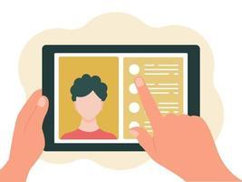 surfplatta i handen, chatta online. begreppet virtuell kommunikation. vektorillustration i platt stil isolerad på en vit bakgrund vektor