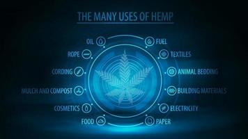 viele Verwendungen von Hanf, dunklem und blauem Digitalplakat mit dunkler Neonszene, Infografik der Verwendungen von Hanf und Hologrammblatt der Hanfpflanze vektor