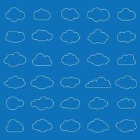 Satz weiße Wolkenliniensymbole im blauen Hintergrund. Wolkensymbol für Ihr Website-Design, Logo, App, Benutzeroberfläche. Vektorillustration, eps10. vektor