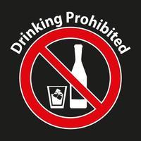 Trinken verboten, kein Alkoholzeichen auf weißem Hintergrund isoliert vektor