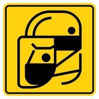 einfache tragen schützende Gesichtsschutzsymbole für Ihr Design vektor