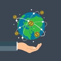 Geschäftsmann hält Erdkugel, Bitcoin-Konzept Wachstumstabelle Hand halten, Bitcoin-Spin um die world.vector Illustration vektor