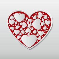 schönes rotes Papier schneidet das Herz mit weißem Rahmen und viele kleine weiße Herzbilder umgeben in der Herzrahmen.vektorillustration vektor