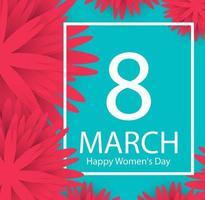 Bakgrund för 8 marsferie med blommor för ram för papperssnitt. glad kvinnors dag. trendig designmall. vektor illustration.