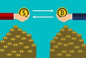 Geschäftsmünzenkonzept. Tauschen Sie Münzen Dollar zu Bitcoin von Hand zu Hand aus. Vektorillustrator vektor