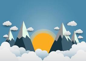vackra solar och berg med olika moln. papperskonst vektor