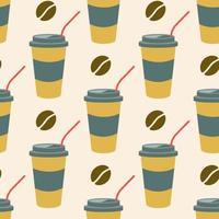 Kaffee in einem Plastikbecher mit einem Strohhalm und Kaffeebohnen auf einem hellen Hintergrund. vektor