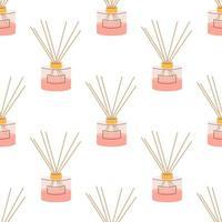 Aromadiffusor für zu Hause in rosa Pulverfarbe auf weißem Hintergrund. Vektor nahtloses Muster, im flachen Stil